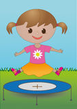 A girl on a trampoline. An illustration of a girl jumping on a trampoline Royalty Free Stock Image