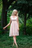 The girl in transparent dress. With long flying pastel loop walks in spring wood , shabby chic , bohemian style , fashion creative computer color Stock Photography