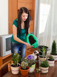 Girl transplanting  flowers at table Stock Photos