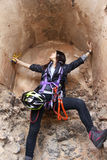 Girl trapped doing a via ferrata. In Spain Stock Photography