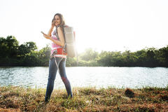 Girl Travel Backpacker Digital Device Concept Royalty Free Stock Images