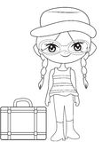 Girl on a travel coloring page. Useful as coloring book for kids Royalty Free Stock Photography