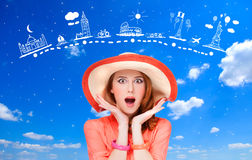 Girl and and travel map. Royalty Free Stock Photography