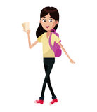 Girl traveler backpack and tickets. Illustration eps 10 Royalty Free Stock Photos