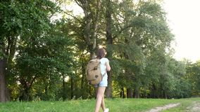 Girl traveler with a backpack walks along a forest road. Hiker woman walks in the forest. happy hiker girl in summer stock video footage