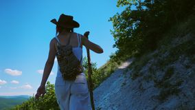 A girl traveler with a backpack and a wooden stick is walking along a path located on a steep slope in the mountains. She is surrounded by grass, bushes and a stock footage