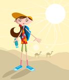 Girl traveling in desert. With camel on backdrop Royalty Free Stock Photos