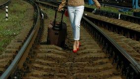 Girl traveling. stock video