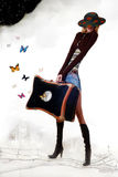 Girl with travelling bag. Picture Alice in another world Stock Photography