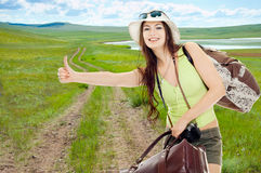 The girl travels Stock Photography