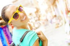 Girl travels Stock Photo