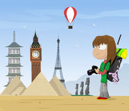 Girl travels the world Royalty Free Stock Photography