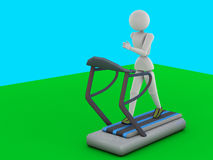 Girl on the treadmill dorzhki. (3D illustration. Puppet humans. Girl rhythmically runs, goes. Sports equipment - treadmill. Soft shadows. Green floor, blue Royalty Free Stock Photography