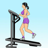 Girl on treadmill pop art style vector Royalty Free Stock Photography