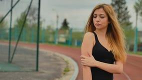 Girl on treadmill stadium sports slow motion activities stock video footage