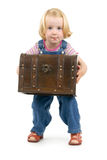 Girl  with a treasure chest. Dinky girl  with a treasure chest on a white background Royalty Free Stock Image