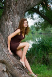 The girl at a tree. The beautiful girl in a dress at a tree on the river Stock Image