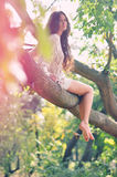 A girl on the tree. A beautiful ladys sitting on the tree in the wood and looks like forest fairy Royalty Free Stock Photos