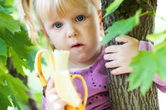Girl on the tree with banana Royalty Free Stock Photos