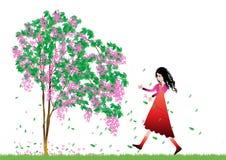 Girl and tree. Beautiful girl enjoying nature.vector stock illustration