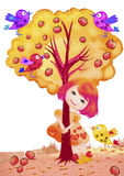 Girl, tree and birds. Colorfull watercolor painting of girl, tree and birds. Children concept. Illustration Royalty Free Stock Photo