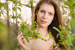 Girl with a tree branch Stock Photos
