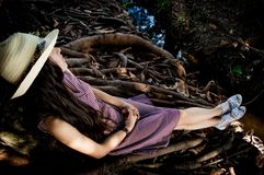 Girl, Tree, Darkness, Plant Royalty Free Stock Image