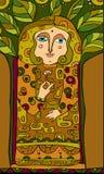 Girl Tree Ethnic Stock Image