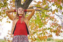Girl by tree Royalty Free Stock Images