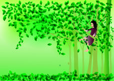 Girl on tree Royalty Free Stock Photo
