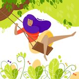Girl on tree swing in flat style. Cartoon character Royalty Free Stock Photo