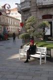 A girl with a tree, Vigo, Galicia, Spain royalty free stock photography