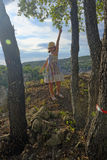 Girl by trees in Provence Stock Photos