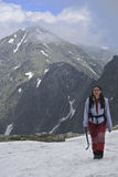 Girl trekking stock photography
