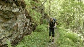 Girl on the trekking in Norway stock video