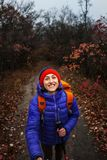 A girl with trekking sticks. A girl with trekking sticks walks along a forest trail. Skyrunning in the fall. Active recreation in nature. A woman is walking on Stock Photography