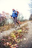 A girl with trekking sticks. A girl with trekking sticks walks along a forest trail. Skyrunning in the fall. Active recreation in nature. A woman is walking on Royalty Free Stock Photos