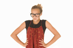 Girl in trendy black glasses and red and black top Stock Photo
