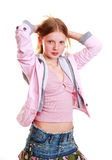 Girl in trendy clothes. Girl with trendy casual clothes on white studio background Stock Photo