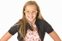 Girl in trendy yellow glasses Royalty Free Stock Photos