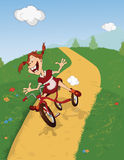 The girl on a tricycle.Cartoon Stock Images