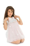Girl tries on a dress Royalty Free Stock Photo