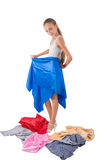 The girl tries on fabric Stock Images