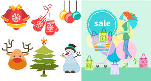 Girl with trolley shopping bag and lable. Shopping girl woman with trolley showing shopping bag with sale written on lable. Christmas and New Year icons bell Royalty Free Stock Images