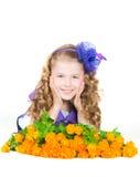 The girl with  trollius Stock Image