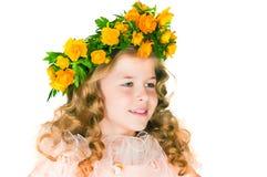 The girl with  trollius Stock Photos