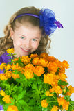 The girl with  trollius Stock Photography