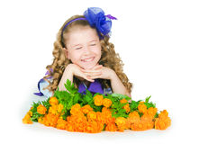 The girl with  trollius Stock Image
