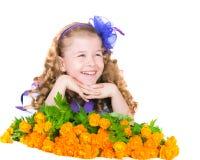 The girl with  trollius Stock Photo