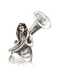 Girl with trombone Stock Images
